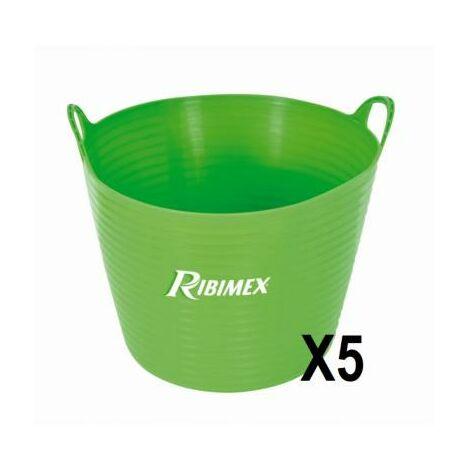 Lot de 5 seaux souple 28 litres pour le jardin, travaux, brico chantier