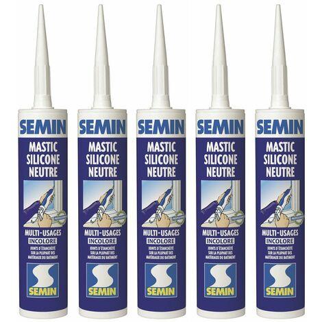 Lot de 5 silicones neutre PVC incolore multi usages pour les Joints d'étanchéité et de dilatation Semin - intérieur/extérieur - cartouche de 310 ml