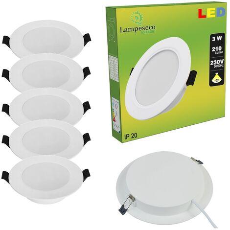 Lot de 5 Spot Encastrable LED Downlight Panel Extra-Plat 3W Blanc Froid 6000K