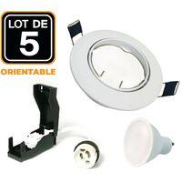 Lot de 5 Spot encastrable orientable blanc avec GU10 LED de 5W eqv. 40W