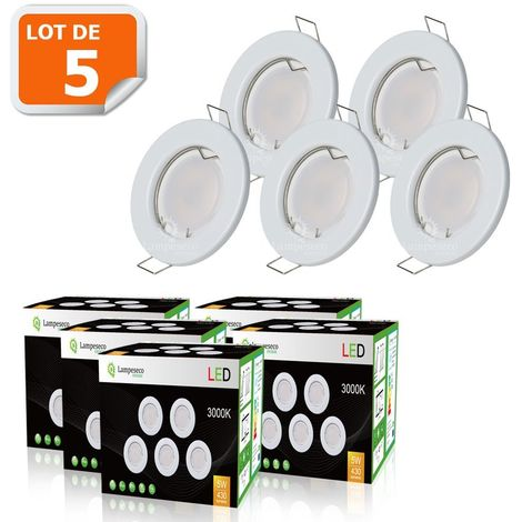 LOT DE 5 SPOT LED COMPLETE RONDE FIXE eq. 50W BLANC CHAUD
