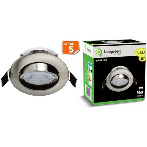 Lot de 5 Spot LED Encastrable Alu Brossé 7W Blanc Neutre 560lm source de lumière remplaçable