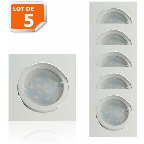 Lot de 5 Spot Led Encastrable Carré Blanc Orientable lumière Blanc Chaud 5W eq. 50W ref.404