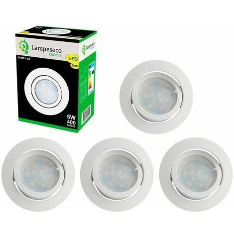 Lot de 5 Spot Led Encastrable Complete Blanc Orientable lumière Blanc Chaud eq. 50W ref.193