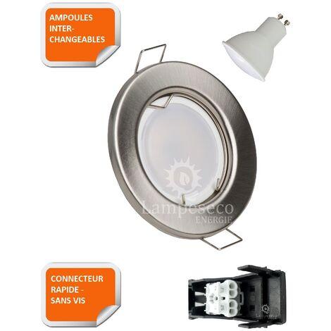 LOT DE 5 SPOT LED ENCASTRABLE COMPLETE RONDE FIXE ALU BROSSE eq. 50W BLANC CHAUD