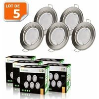 LOT DE 5 SPOT LED ENCASTRABLE COMPLETE RONDE FIXE ALU BROSSE eq. 50W BLANC NEUTRE