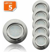 Lot de 5 Spot Led Encastrable Complete Satin Orientable lumière Blanc Chaud eq. 50W ref.209