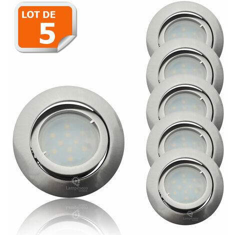 Lot de 5 Spot Led Encastrable Complete Satin Orientable lumière Blanc Neutre eq. 50W ref.895