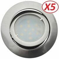 Lot de 5 Spot Led Encastrable Complete Satin Orientable lumière Blanc Neutre eq. 50W ref.895