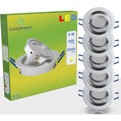 LOT DE 5 SPOT LED ENCASTRABLE ORIENTABLE 5W eq. 50W, BLANC CHAUD ref.64853000