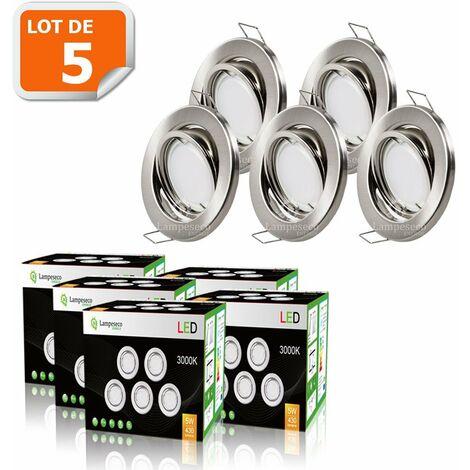 d171a40003de7 LOT DE 5 SPOT LED ENCASTRABLE ORIENTABLE ALU BROSSE AVEC AMPOULE GU10 230V  eq.