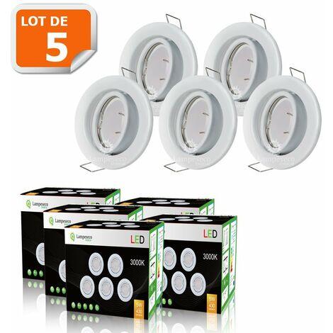 LOT DE 5 SPOT LED ORIENTABLE BLANC AVEC AMPOULE GU10 230V eq. 50W, BLANC CHAUD