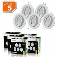 LOT DE 5 SPOT LED ORIENTABLE BLANC AVEC AMPOULE GU10 230V eq. 50W, BLANC CHAUD