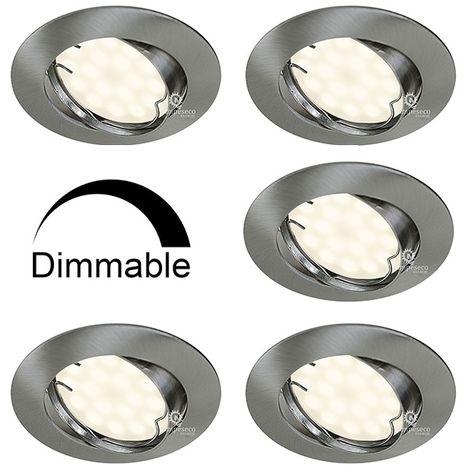 Lot de 5 Spots Encastrable LED Alu Brossé GU10 Dimmable Blanc Neutre