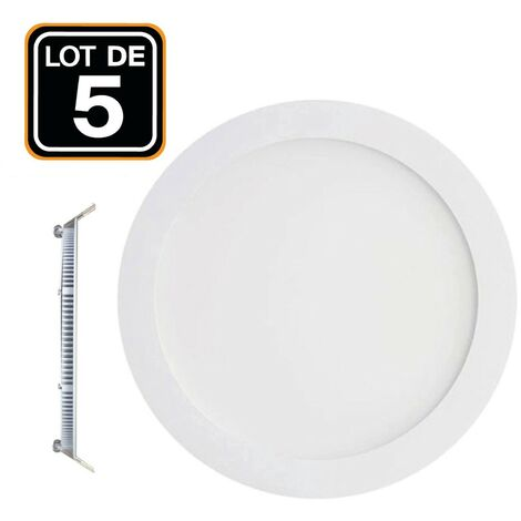 Lot de 5 Spots Encastrable LED Downlight Panel Extra-Plat 12W eqv. 96W