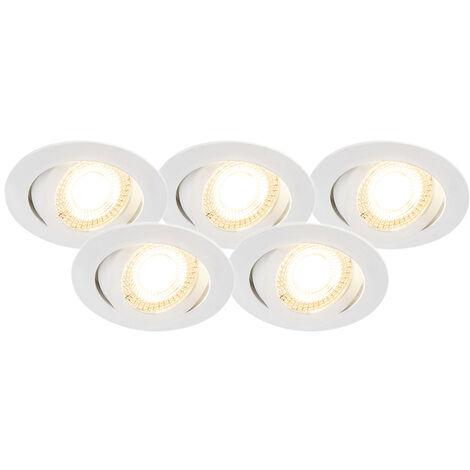 Lot de 5 spots encastrables avec LED dimmable en 3 étapes - Mio Qazqa Moderne Luminaire interieur Rond