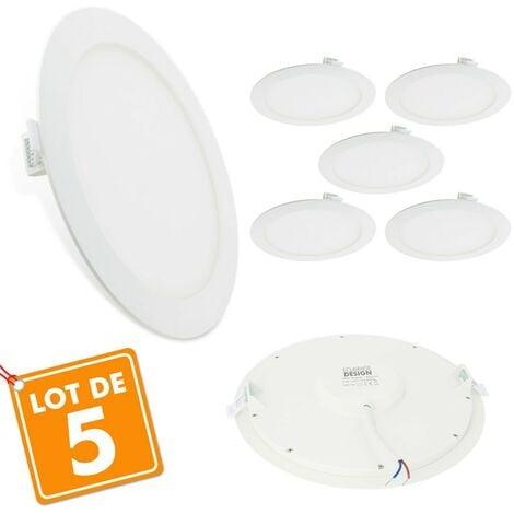 Lot de 5 Spots Encastrables LED Extra-Plat 18W | Température de Couleur: Blanc neutre 4000K