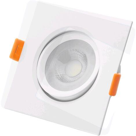 LOT DE 5 SPOTS ENCASTRE ORIENTABLE ROND LED IP20 7W 550 LUMENS - BLANC CHAUD - Blanc