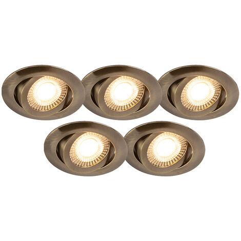 Lot de 5 spots encastrés en bronze avec LED dimmable en 3 étapes - Mio Qazqa Moderne Luminaire interieur Rond