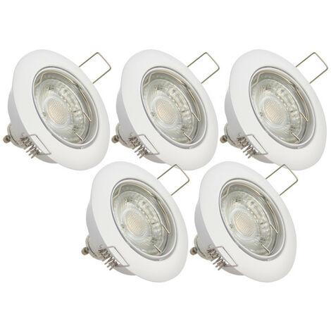 Lot de 5 spots encastrés - lumière chaude - ampoule LED GU10 incluses | Xanlite