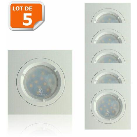 Lot de 5 Spots Led Blanc Carré lumière Blanc Neutre 5W eq. 50W ref.464