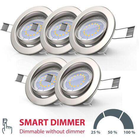 Lot de 5 spots LED encastrables dimmables sans variateur GU10 spots à encastrer spots plafond