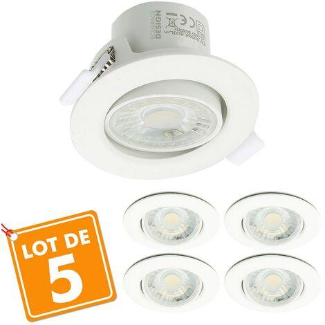 Lot de 5 Spots LED Encastrables Valence 9W Orientable Equ. 60W