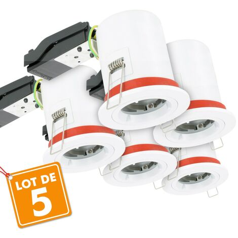 Lot de 5 Supports de spot BBC D87 avec douille GU10 automatique