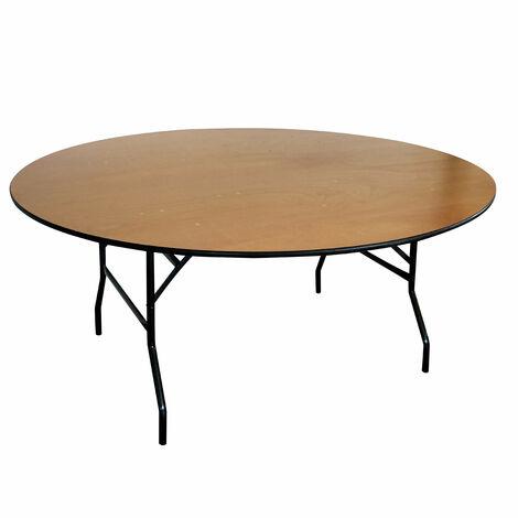 Lot de 5 Tables pliantes rondes en bois 170cm 10 places