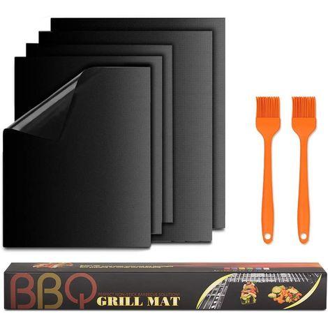 Lot de 5 tapis de cuisson anti-adhésifs pour barbecue et four, sans PFOA, autorisation FDA jusqu'à 260 °C, Idéal pour le barbecue à charbon de bois, barbecue à gaz et four