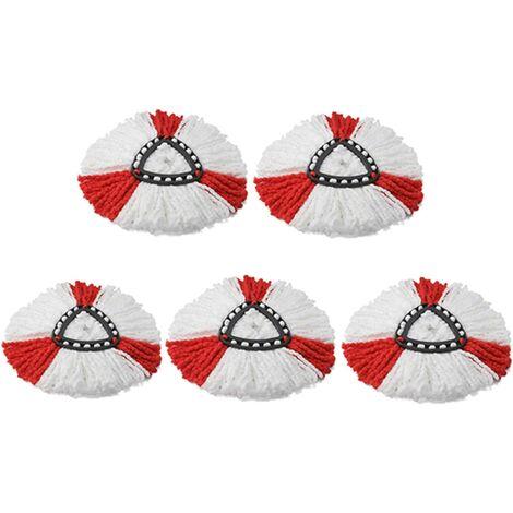 Lot de 5 têtes de serpillère en microfibre de rechange pour balai à franges Vileda EasyWring O-cedar rotatif 360