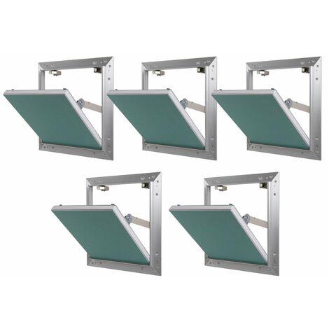 Lot de 5 trappes de visite alu hydro Semin - 200 mm x 200 mm x 12.5 mm - ouverture poussez/lâchez - pièces humides - accès aux gaines techniques et conduites - murs et plafonds
