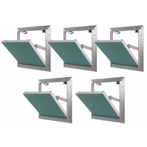 Lot de 5 trappes de visite alu hydro Semin - 500 mm x 500 mm x 12.5 mm - ouverture poussez/lâchez - pièces humides - accès aux gaines techniques et conduites - murs et plafonds