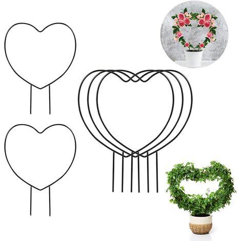 Lot de 5 treillis de jardin en fer noir pour plantes grimpantes – 38,1 cm Cercle de treillis en fer pour plantes grimpantes en plein air, piquets de support pour plantes grimpantes (cœur)
