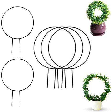 Lot de 5 treillis de jardin en fer noir pour plantes grimpantes – 38,1 cm Cercle de treillis en fer pour plantes grimpantes en plein air, piquets de support pour plantes grimpantes (Forme ronde)
