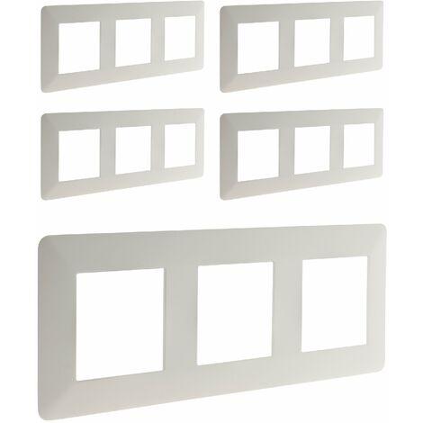 Lot de 5 triples plaques de finition horizontales blanches - Artezo