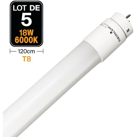 Lot de 5 Tubes Neon LED 18W 120cm T8 Blanc Froid 6000K Gamme Pro - LOTX56000K120CM