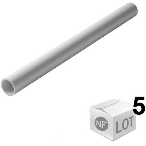 Lot de 5 Tubes PVC blanc NF diamètre 40 mm - 2 mètres - Nicoll