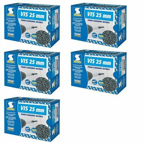 Lot de 5 x 1000 vis auto perceuse Semin pour la fixation des plaques de plâtre sur l'ossature - intérieur - 25 mm x 3.5 mm