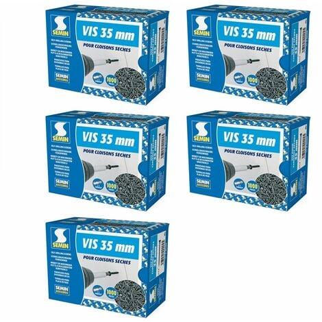 Lot de 5 x 1000 vis auto perceuse Semin pour la fixation des plaques de plâtre sur l'ossature - intérieur - 35 mm x 3.5 mm