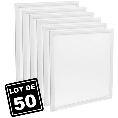 Lot de 50 Dalles Led 40W 60X60 PMMA Blanc froid 6000K Haute Luminosité