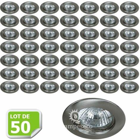 Lot de 50 Fixation de spot encastrable Classic Alu Brossé Diamètre 77mm ref. 949