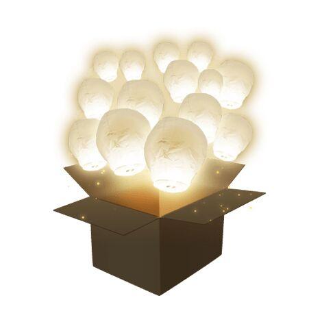 Lot de 50 Lanternes Volantes Balloon Blanche 60 x 100 cm - 50x Lanterne Chinoise Volante - Lanterne Papier idéal pour soirée, fête et mariage en extérieur - Blanc
