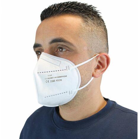 Lot de 50 masques de protection FFP2, 5 plis - Blanc - Vivezen