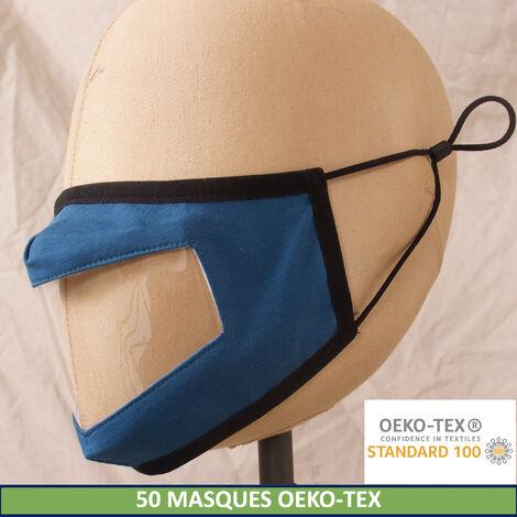 Lot de 50 masques en tissu lavables et réutilisables OEKOTEX - Adulte - fenêtre transparente - 50 lavages