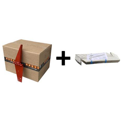 Lot 50 x sabot serre joint pour coffrage de dalle et chainage + 1 paquet entretoise alu de 15/20/25 cm pour dalle