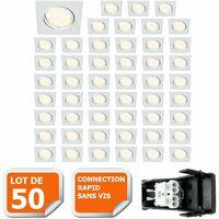 LOT DE 50 SPOT ENCASTRABLE ORIENTABLE LED CARRE GU10 230V ECLAIRE COMME 50W