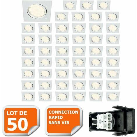 LOT DE 50 SPOT ENCASTRABLE ORIENTABLE LED CARRE GU10 230V eq. 50W BLANC NEUTRE