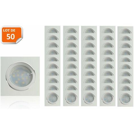 Lot de 50 Spot Led Encastrable Carré Blanc Orientable lumière Blanc Chaud 5W eq. 50W ref.404