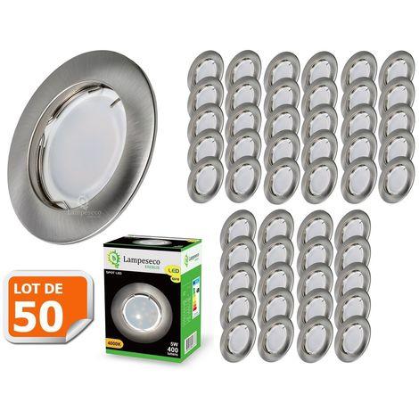 Lot de 50 Spot Led Encastrable Complete Alu Brossé Lumière Blanc Chaud 5W eq.50W ref.763